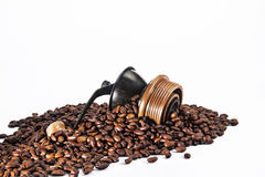 Coffee seed and grinder Stock Photography