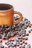 Coffee seed on wood table Royalty Free Stock Images