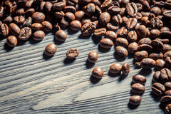 Coffee seed on wooden table background no. 1 Stock Photo