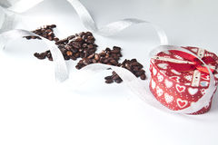 Coffee seeds with christmas presents Stock Photo
