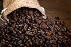 Coffee seeds with some jute bags filled with coffee beans. Jute bags. Low light Royalty Free Stock Image