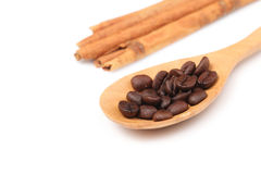 Coffee seeds on wooden spoon Royalty Free Stock Photo
