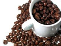 Coffee Series 2. A mug filled with coffee beans, surrounded by more coffee beans. Focus on beans in the white mug Stock Image