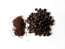 Coffee Series 8. Coffee beans and ground coffee : Transition stock photo