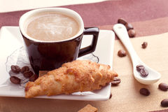 Coffee served with croissant Stock Photo