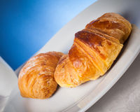 Coffee serrved with croissant and sfogliatella(typical Napoli sw Royalty Free Stock Photography