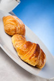 Coffee serrved with croissant and sfogliatella(typical Napoli sw Royalty Free Stock Photo