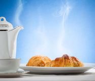 Coffee serrved with croissant and sfogliatella(typical Napoli sw Stock Photography