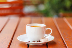 Coffee served outdoors Royalty Free Stock Image