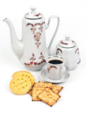 Coffee service and coffee with biscuits Stock Photos