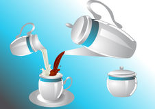 Coffee service with poorin milk Royalty Free Stock Photography