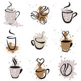 Coffee set 1. Vector coffee elements set 1 Stock Images