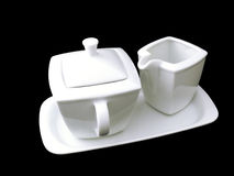 Coffee set. A sugar bowl with a saucer on a tray royalty free stock images