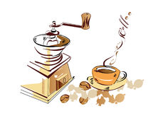 Coffee set. Coffee-mill and delicious beverage  - coffee in the cup Royalty Free Stock Photo