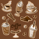 Coffee set. Hand drawn illustration, may be used as seamless pattern Stock Illustration