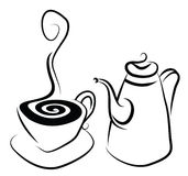 Coffee Set. Simple stylistic illustration of a coffee set Stock Photo