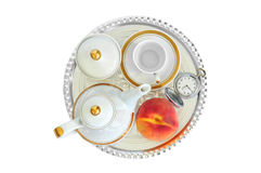 Coffee set, appricot and pocket watch Stock Photos