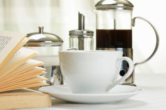 Coffee set and book Stock Photos