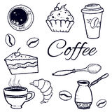 Coffee set: cezve, cup, spoon, sugar, coffee beans, cupcakes, paper cup. Sketch. Vector isolated image. Royalty Free Stock Photography
