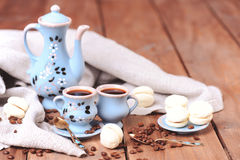 Coffee set with cookies. Homemade cookies with cups of coffee, selective focus Stock Photos