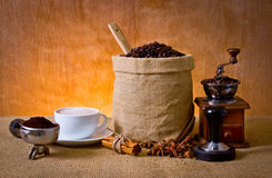 Coffee set. Set of coffee, cup of coffee,ground coffee in portafilter,cinnamon, star anise, tamper and coffee grinder Stock Photography