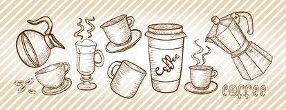 Coffee set drawing Royalty Free Stock Photo
