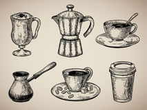Coffee set engraving. Latte, Turk, coffee pot, cup with coffee, cardboard sketch style. Vector illustration. Coffee set engraving. Latte, Turk, coffee pot, cup Stock Photo