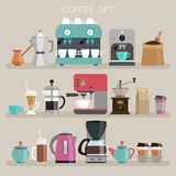 Coffee set - flat style. Vector illustration Royalty Free Stock Photos