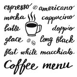 Coffee set. Hand-drawn cartoon names of different coffee drinks. Doodle drawing. Royalty Free Stock Image