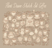 Coffee set. hand-drawn doodle. vector illustration Royalty Free Stock Image