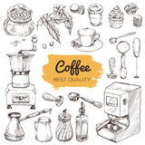 Coffee. Set of hand drawn elements. Vintage sketch vector illustration, cafe design; Coffee mill, syrup, creamer, milk blender, portafilter, tamper, coffe Stock Image