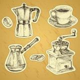 Coffee set. Hand drawn illustration. Set of stickers royalty free illustration