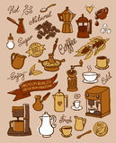 Coffee set. Hand drawn vector coffee set, with coffee, ingredients and devices for coffee making. For cafe menu, brochure, fliers Stock Image