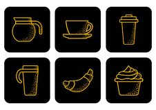 Coffee set icons. Vector illustration royalty free illustration