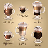 Coffee set. Illustration of coffee set icons Royalty Free Stock Image