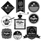 Coffee set labels royalty free illustration