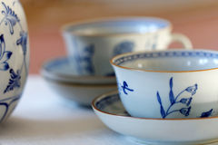 Coffee set made of white and blue porcelain Royalty Free Stock Image