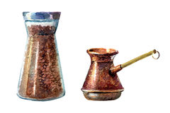 Coffee set. Painted in watercolours Stock Photo