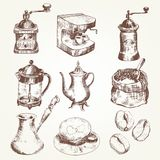 Coffee set. Pen sketch converted to vectors Royalty Free Stock Photos