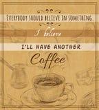 Coffee set retro poster Stock Images