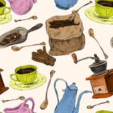 Coffee set seamless colored pattern Stock Photography