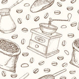 Coffee set seamless pattern. Useful for restaurant identity. Royalty Free Stock Photo
