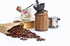 Coffee set with seeds Royalty Free Stock Photography