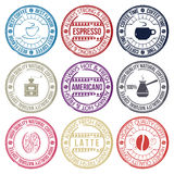 Coffee set of stamps Royalty Free Stock Images