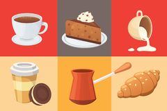 Coffee set and sweet desserts  vector illustration. Different drink types including espresso, macchiato. Coffee set. Different drink types including espresso Stock Images