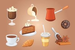 Coffee set and sweet desserts  vector illustration. Different drink types including espresso, macchiato. Coffee set. Different drink types including espresso Royalty Free Stock Photo