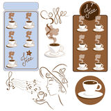 Coffee. Set of useful images to related topics and coffee bar stock illustration