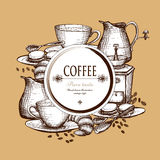 Coffee set vintage style composition poster Royalty Free Stock Image