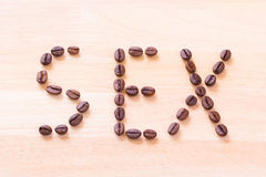 Coffee for sex. Coffee bean for sex and power Stock Photo