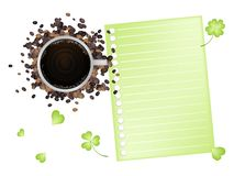 Coffee and Shamrock with A Blank Paper Stock Photography